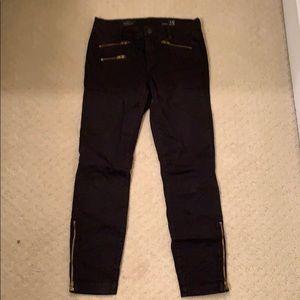 Jcrew toothpick pants with gold zipper detail